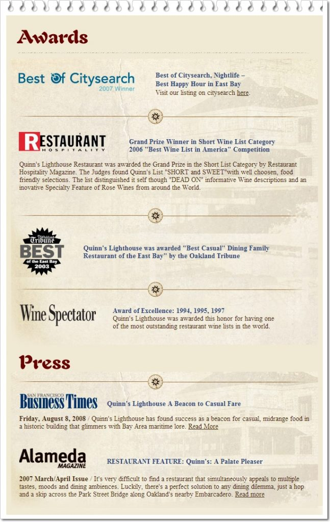 Awards Best of citysearch restaurant wine spectator press business times